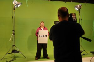 Filming against green screen for Empower!
