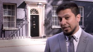 Ismail filming outside 10 Downing Street